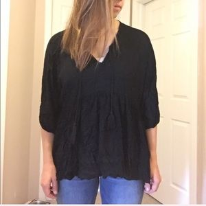 Lumiere Black Top with Tassel Ties